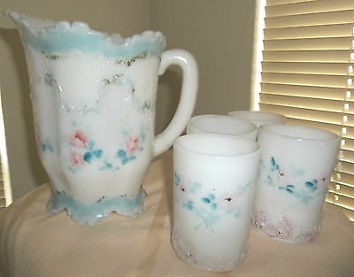 Antique Dithridge Versailles Water Pitcher 4 Tumblers Roses,scrolling Milk Glass