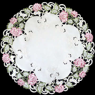 "Colorful Embroidered Victorian Pink Rose 12"" Round Doily Set of 2"