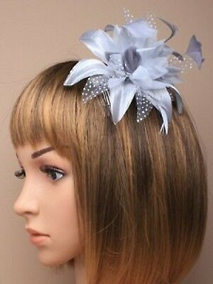 NEW Silver grey feather flower comb fascinator wedding ascot prom ball races