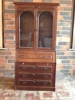1860' Victorian Black Walnut drop front desk with bookcase top $650.00