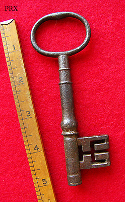 Antique 1700's Large Old Iron Wire Bow Skeleton Key - London - More Keys Here