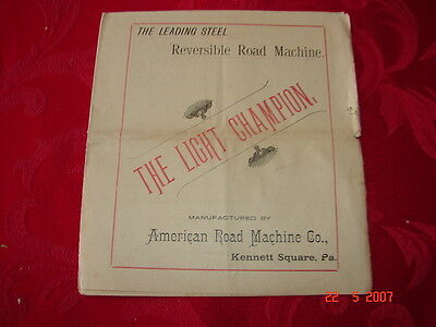 1890's AMERICAN ROAD MACHINE CO Kennett Square, Pa -  Advertising Brochure L@@K