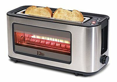 Maxi-Matic Elite Platinum Toaster Stainless Steel w/ Glass Display Bagel ECT-153