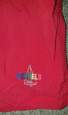 VTG VESSELS  Red SWIM TRUNKS BATHING SUIT SHORTS USA MENS Sz L #1710