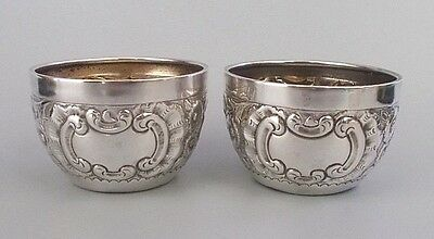 Pair antique Edwardian solid silver salt dishes by William Base, B'ham 1902