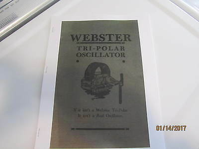 1916 Webster Tri-Polar Magneto Catalog/ Manual engine pics mag types. reprint
