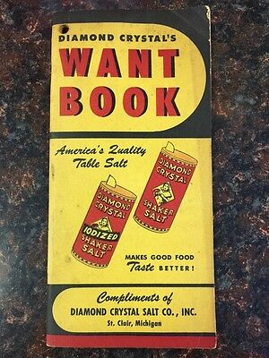 """Vintage Diamond Crystal """"Want Book"""" for Grocers form 1930's"""