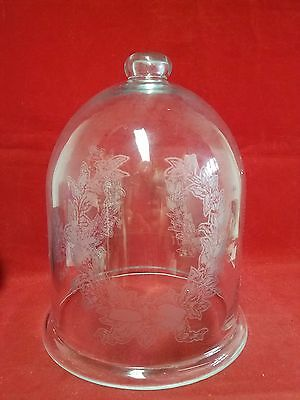 *Etched Glass Bell Jar//Dome-Vintage-Antique-collectible art glass