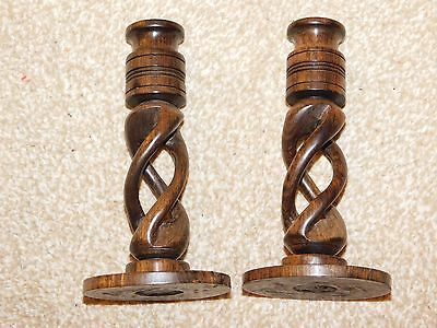 PAIR OF 15.5cm HIGH DARK WOOD OPEN BARLEYTWIST TWISTED CANDLESTICKS