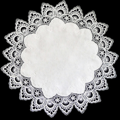 """SALE Beautiful Embroidered 16"""" Round White Lace with White Antique Center Doily"""
