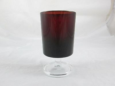 VINTAGE 8 Oz LUMINARC ARCOROC RUBY RED CLEAR STEMMED GLASS - FRANCE
