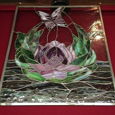 Stained Glass Leaded Glass Window Hanging BUTTERFLY Stained Glass