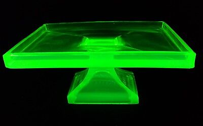 Clark's Teaberry Gum Vaseline Glass Store Display Footed Stand Uranium Tray '20s