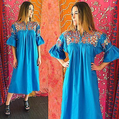 Vintage 70s Mexican Embroidered Dress Boho Hippie Floral Festival Caftan Maxi