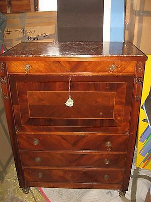 Rare HARRY L MOSES New Orleans, LA  Marble Top Drop Front Secretary Desk Abatant