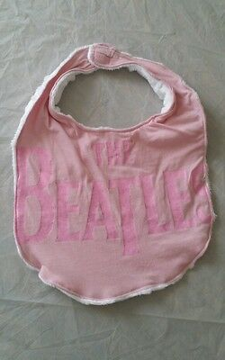 NEW Hand Crafted Unique Baby/Toddler Bib - Pink THE BEATLES - repurposed Tshirt
