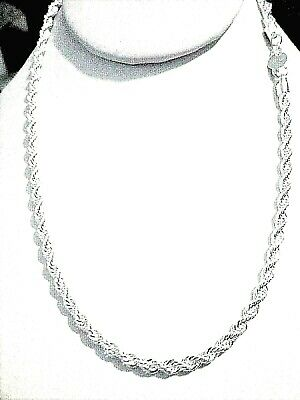 mens/womens 4mm diamond cut rope chain 925 sterling silver 16/18/20/22/24/30""