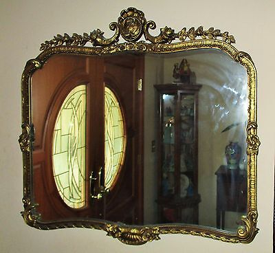 Antique French Rococo Baroque Large Ornate mirror Gold Giltwood Carved Victorian