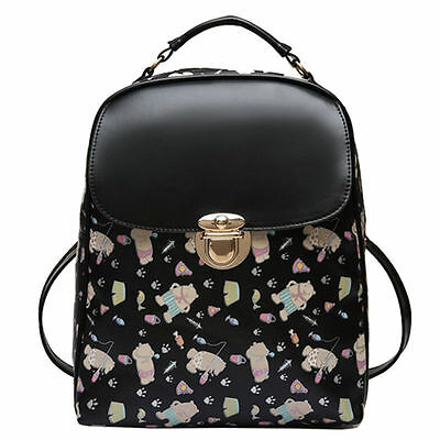 New Womens Backpack Leather Korean Cute Backpack Fashion School Bag Black Bear