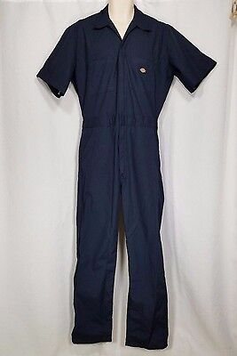 Dickies Coveralls Size Medium Blue Short Sleeve Work Uniform Garage