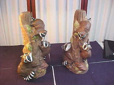 2 Adorable Handmade Raccoons Playing In A Tree Ceramic Figurines/Stands
