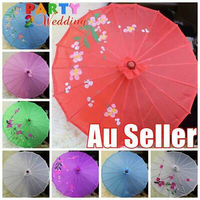3x Japanese Chinese Parasol Umbrella Art Deco Wedding Dance Party Fabric 55cm D