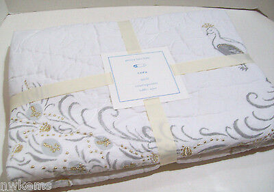 Pottery Barn Kids Multi Colors Gray Cora Peacock Baby Toddler Crib Quilt New