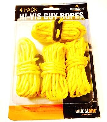 Pack Of 4  Guy Rope 3.8m Hi -Vis Guy Ropes Lines & Runners Visibility Safety