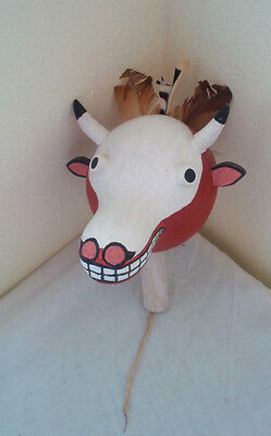 Very Cute Vintage Navajo Hand Painted Gourd Wood Handle Buffalo Face Rattle