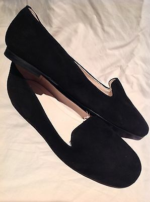 NEW! Zara Womens Black Suede Flat Smoking Loafers Slip On Round Toe Shoes 6 M