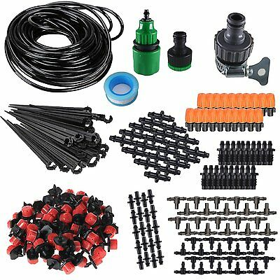 """AU 50 100ft Irrigation System Self Watering Drip Garden Kit For 1/4"""" Blank Hose"""