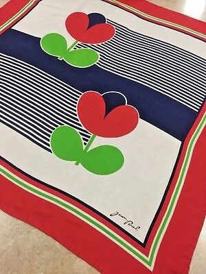 Vintage Jean Parel Silk Scarf, Retro Pattern, 30 Inch Square