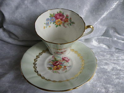 ADDERLEY ENGLAND FINE BONE CHINA CUP & SAUCER PALE GREEN w/ FLOWERS & GOLD TRIM