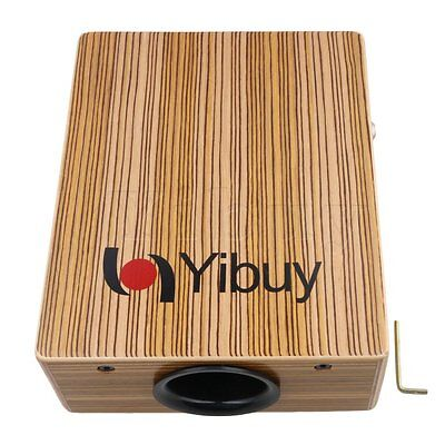 Yibuy 28.9x23x9.6cm Maple Wood Cajon Box Hand Drum with Wrench Striped Color
