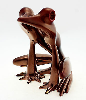 Large Zsolnay Red Eosin Art Deco Frog Figurine