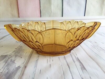 STOLZLE Art Deco Depression Glass Amber Fruit Bowl
