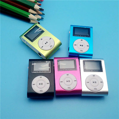 MP3 Player With LCD Screen Mini Clip Metal Support USB 32GB Micro SD TF Card NEW