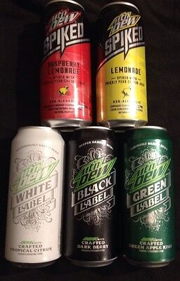 Mountain Dew Mtn Dew Limited Flavors Black,Green,White Label &2 Spiked Cans Lot