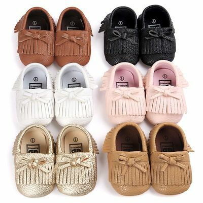 0-18M Baby Soft Sole Leather Shoes Infant Boy Girl Slip-On Tassel Sneakers Shoe