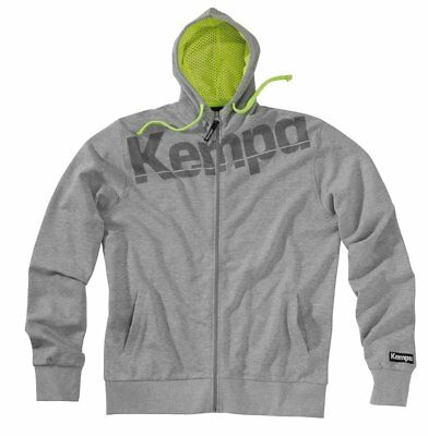 Kempa Kids Core Full Zip Hoodie Hooded Jacket Sweatshirt Top Sports Junior Grey