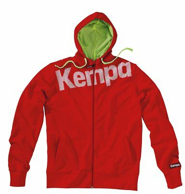 Kempa Kids Core Full Zip Hoodie Hooded Jacket Sweatshirt Top Sports Junior Red