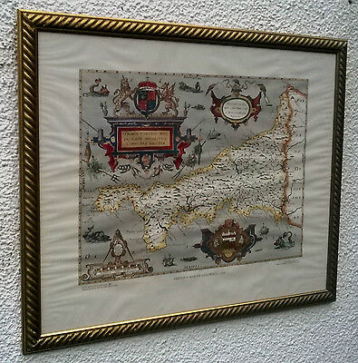 FRAMED VINTAGE 1976 SAXTON's COLOUR MAP OF KERNOW / CORNWALL 1576