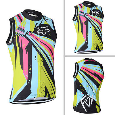 Mens Team Cycling Gears Vests Bike Racing Outfits Tops Wear Sleeveless Pockets