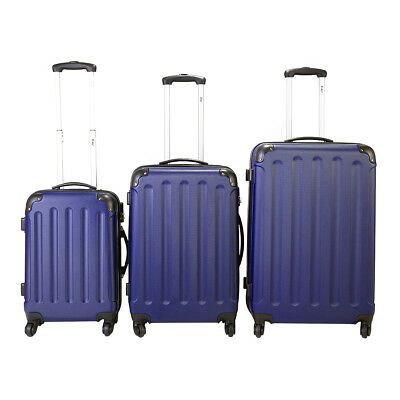 BHC 3 Pcs Luggage Coded Lock Travel Set Bag ABS+PC Trolley Suitcase Deep Blue
