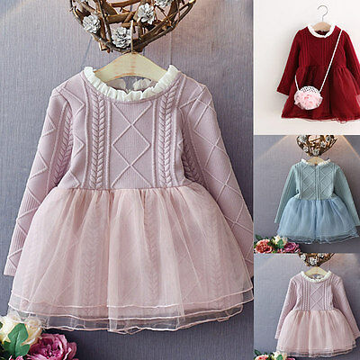 Baby Girls Knitted Kid Tutu Dress Long Sleeve Toddler Princess Mesh Dresses GYTH