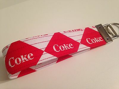 Red And White Coca Cola Wristlet Keychain
