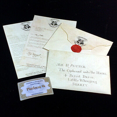 Acceptance Letter Harry Potter Hogwarts,Envelope,Purchasing List + 9 3/4 Ticket