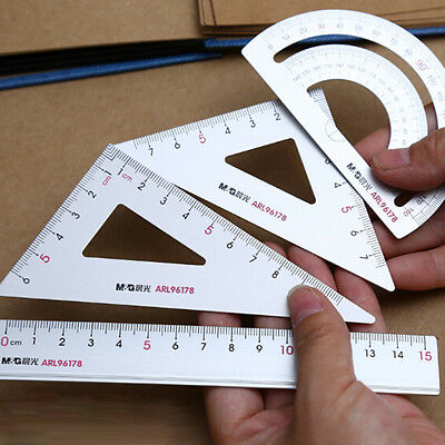 4Pcs Ruler Tool Drawing School Supply Square Triangle Aluminum Alloy Protractor