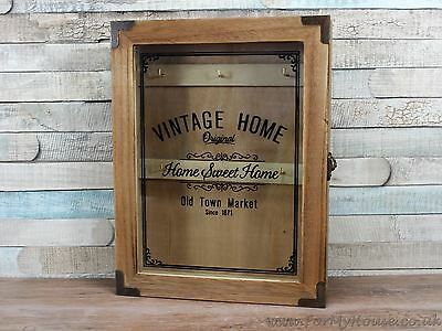Vintage home wooden glass door key box wall mounted cabinet
