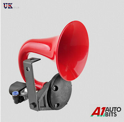 125dB 12V Compact Red Single Trumpet Super Loud Air Horn For Train Boat Camper